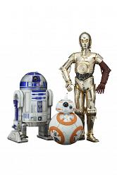 Star Wars Episode VII Statuen 3-Pack 1/10 C-3PO & R2-D2 & BB-8