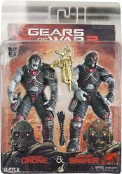 "Gears of War- Locust Drone and Locust Sniper 2 Pack 7"" figures"