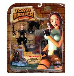 Lara Croft in Black Suit w/ Doberman Action Figure Set