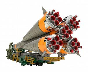 Soyuz Rocket & Transport Train Plastic Model Kit 1/150 32 cm